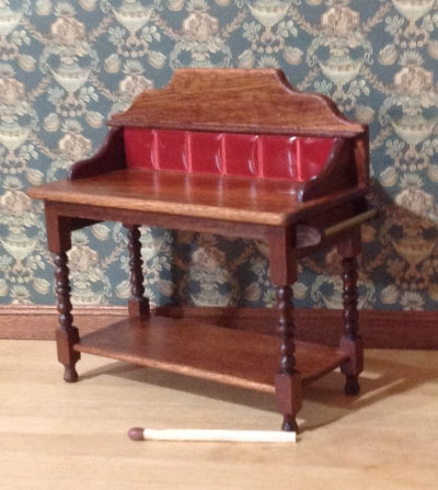 Washstand, burgundy tiles